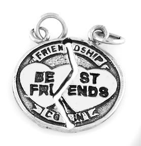 "SILVER SHAREABLE BEST FRIENDS CHARM W/16"" BOX CHAIN"