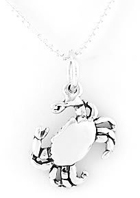 """STERLING SILVER CRAB CHARM WITH 16"""" NECKLACE"""