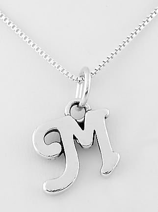"""STERLING SILVER LETTER M CHARM WITH 16"""" NECKLACE"""