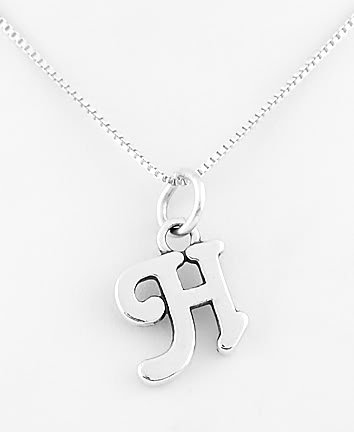 STERLING SILVER LETTER H CHARM WITH NECKLACE