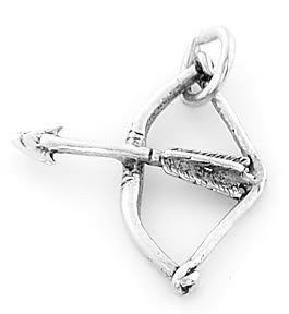 STERLING SILVER BOW and ARROW ARCHERY CHARM