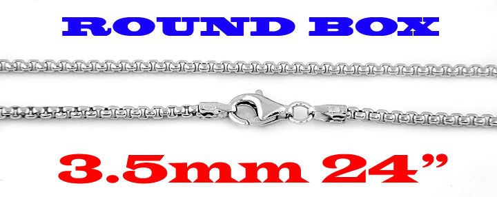 """STERLING SILVER 3.5mm ITALIAN ROUND BOX CHAIN 24"""" NECKLACE"""