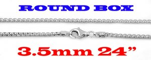 "STERLING SILVER 3.5mm ITALIAN ROUND BOX CHAIN 24"" NECKLACE"