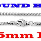 """STERLING  SILVER 3.5mm ITALIAN ROUND BOX CHAIN 18"""" NECKLACE"""