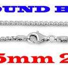 "STERLING SILVER 2.5mm ITALIAN ROUND BOX CHAIN 24"" NECKLACE"