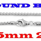 """STERLING SILVER 2.5mm ITALIAN ROUND BOX CHAIN 22"""" NECKLACE"""