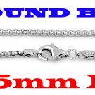 """STERLING SILVER 2.5mm ITALIAN ROUND BOX CHAIN 16"""" NECKLACE"""