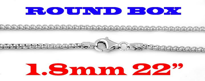 """STERLING SILVER 1.8mm ITALIAN ROUND BOX CHAIN 22"""" NECKLACE"""