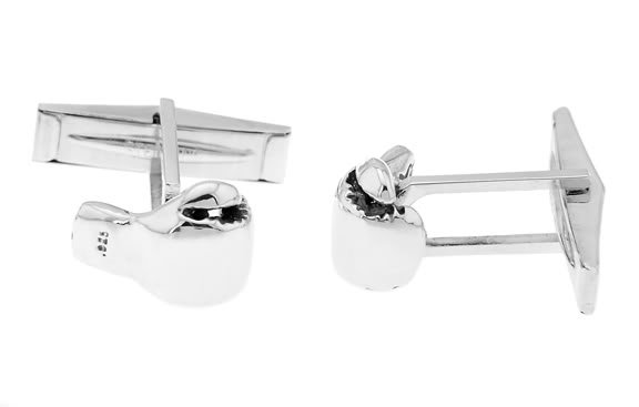 STERLING SILVER 3D FIGHTER BOXER BOXING GLOVE CUFFLINKS