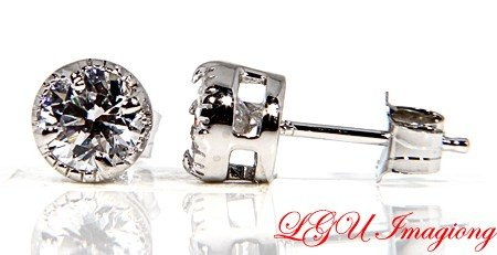 STERLING SILVER CZ ROUND STUD BASKET EARRINGS 5mm