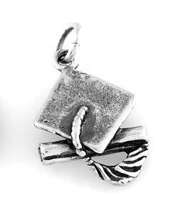 "STERLING SILVER GRADUATION HAT & DIPLOMA CHARM W/16"" BOX CHAIN"