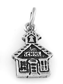 """STERLING SILVER SCHOOLHOUSE CHARM WITH 16"""" BOX CHAIN"""