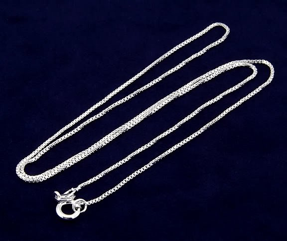 "STERLING SILVER 16"" BOX CHAIN"