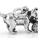 STERLING SILVER 3D CAT WITH BALL OF YARN CHARM/PENDANT