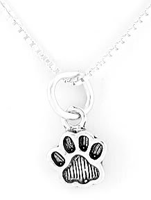 "STERLING SILVER PAW PRINT CHARM WITH 16"" NECKLACE"