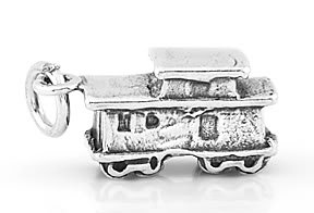 STERLING SILVER 3D TRAIN CABOOSE CHARM/PENDANT