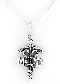 "STERLING SILVER MD CADUCEUS CHARM WITH 16"" NECKLACE"