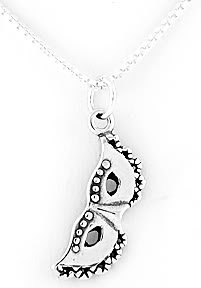STERLING SILVER MASQUERADE MASK CHARM NECKLACE