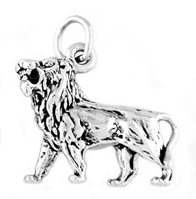 "STERLING SILVER FEROCIOUS LION CHARM WITH 16"" BOX CHAIN"