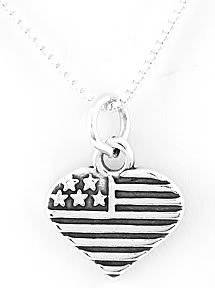 STERLING SILVER U.S.A. HEART CHARM NECKLACE