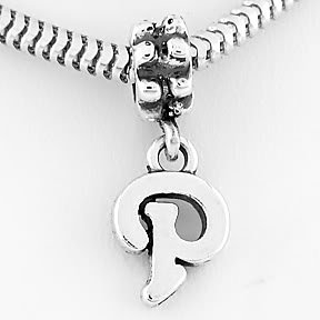 STERLING SILVER DANGLING FANCY LETTER P EUROPEAN BEAD