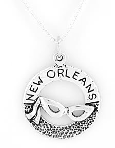 STERLING SILVER NEW ORLEANS MARDIS GRAS CHARM with 16 inch NECKLACE