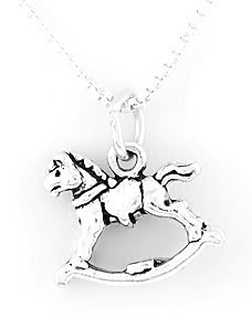 STERLING SILVER ROCKING HORSE CHARM WITH NECKLACE