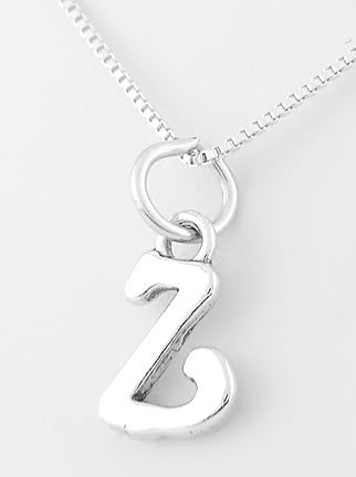 "STERLING SILVER LETTER Z CHARM WITH 16"" NECKLACE"