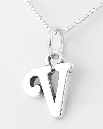 """STERLING SILVER LETTER V CHARM WITH NECKLACE 16"""""""