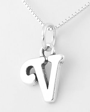 STERLING SILVER LETTER V CHARM WITH NECKLACE 16""
