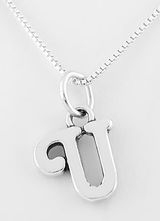 """STERLING SILVER LETTER U CHARM WITH NECKLACE 16"""""""