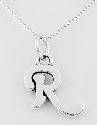 """STERLING SILVER LETTER R CHARM WITH NECKLACE 16"""""""