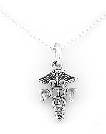 SILVER PHYSICAL THERAPIST SYMBOL CHARM WITH NECKLACE