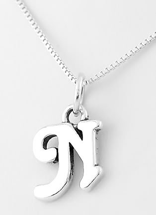 """STERLING SILVER LETTER N CHARM WITH NECKLACE 16"""""""