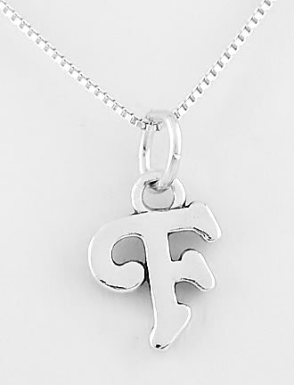 STERLING SILVER LETTER F CHARM WITH NECKLACE