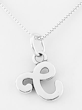 STERLING SILVER LETTER C CHARM WITH NECKLACE
