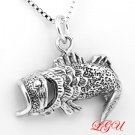 "STERLING SILVER OPEN MOUTH BASS FISH CHARM WITH 16"" NECKLACE"