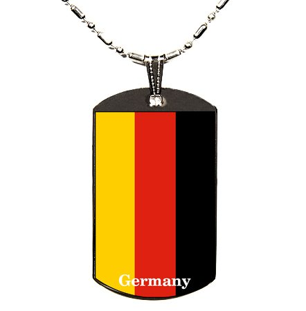 GERMANY GERMAN FLAG UV POLYMER GLAZED COLOR DOG TAG