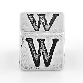 STERLING SILVER BLOCK LETTER INITIAL W CUBE CHARM