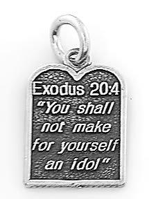 STERLING SILVER EXODUS 20:4 TEN COMMANDMENT #2 CHARM/PENDANT