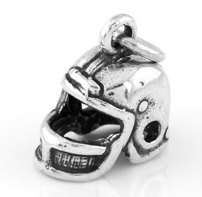 STERLING SILVER FOOTBALL PLAYER'S HELMET CHARM/PENDANT
