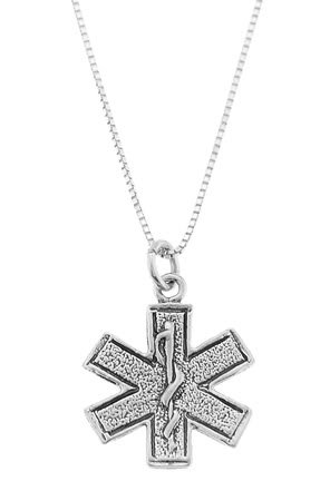"STERLING SILVER MEDICAL PARAMEDIC CROSS CHARM WITH 16"" BOX CHAIN"