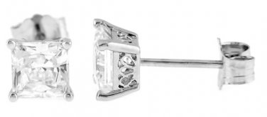 STERLING SILVER 5MM CZ PRINCESS FILIGRI STUD EARRINGS