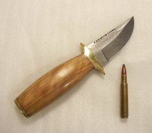 Damascus Handmade Skinning, Fine Detail Bowie Knife 1284