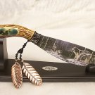 Full Set 4 Knife Indian Art Bowie Knives Wildlife Series Wt. Upright Stands