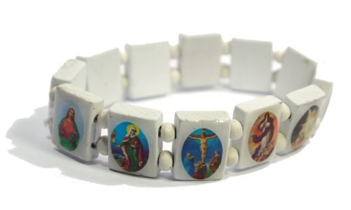 White Jesus Bracelet/Armband with Saints and Religious Icons wood panels