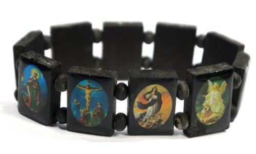 Black Jesus Bracelet/Armband with Saints and Religious Icons wood panels