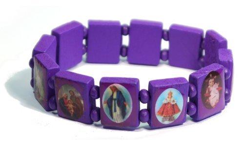 Purple Jesus Bracelet/Armband with Saints and Religious Icons wood panels
