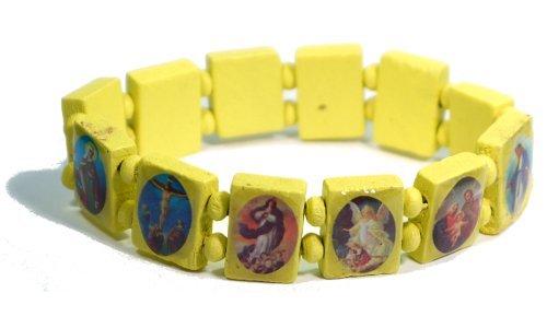Yellow Jesus Bracelet/Armband with Saints and Religious Icons wood panels