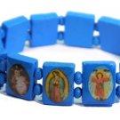 Blue Jesus Bracelet/Armband with Saints and Religious Icons wood panels